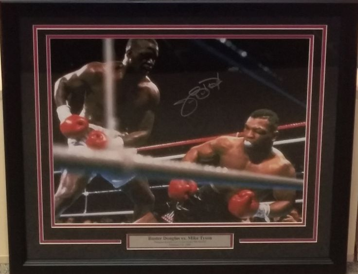 """Boxing James """"Buster"""" Douglas Knocking Out Mike Tyson Autographed 16"""" x 20"""" Framed and Matted Photo"""