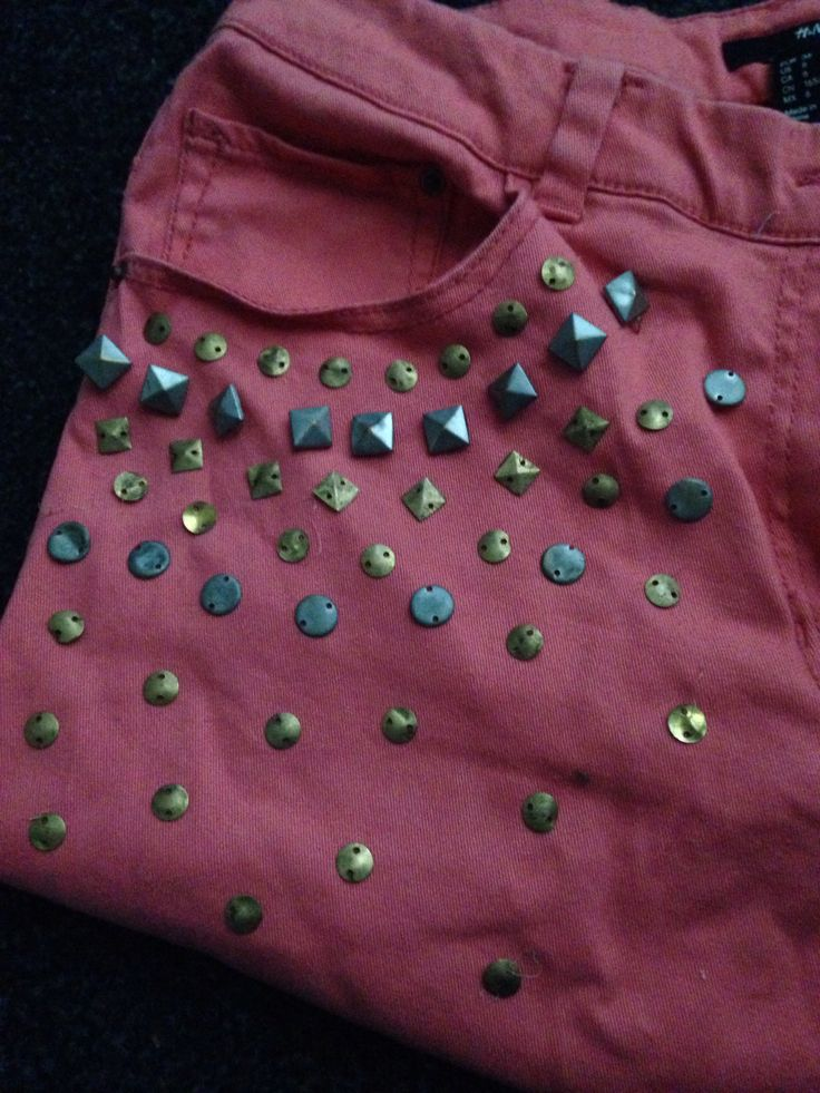 Upcycled studs on upcycled jeans now shorts!