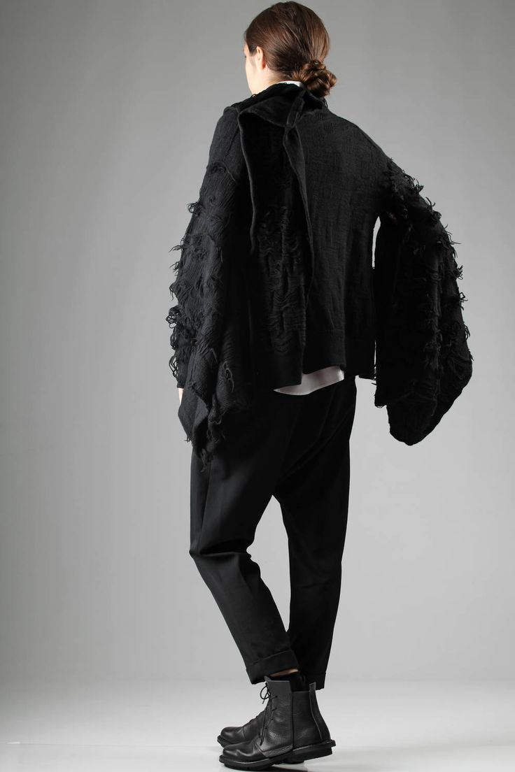 YOHJI YAMAMOTO - Waist-Length In Fabric Worked Knitted Wool And Circular Fringes :: Ivo Milan