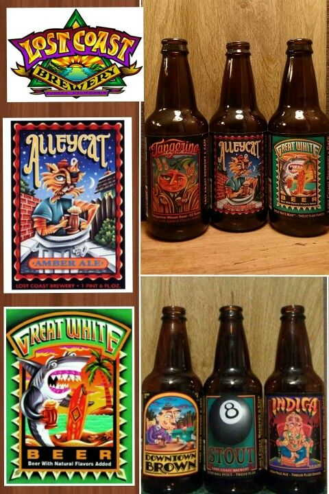 LOST COAST BREWERY (Eureka, CA) ● Tangerine Wheat (509) (B+) ● Alleycat Amber (306) (A) ● Great White (307) (A-)...☆try mixing Alleycat and Great White...awesome flavor!☆ ● Downtown Brown (308) (A) ● 8 Ball Stout (309) (B) ● Indica IPA (310) (B+)