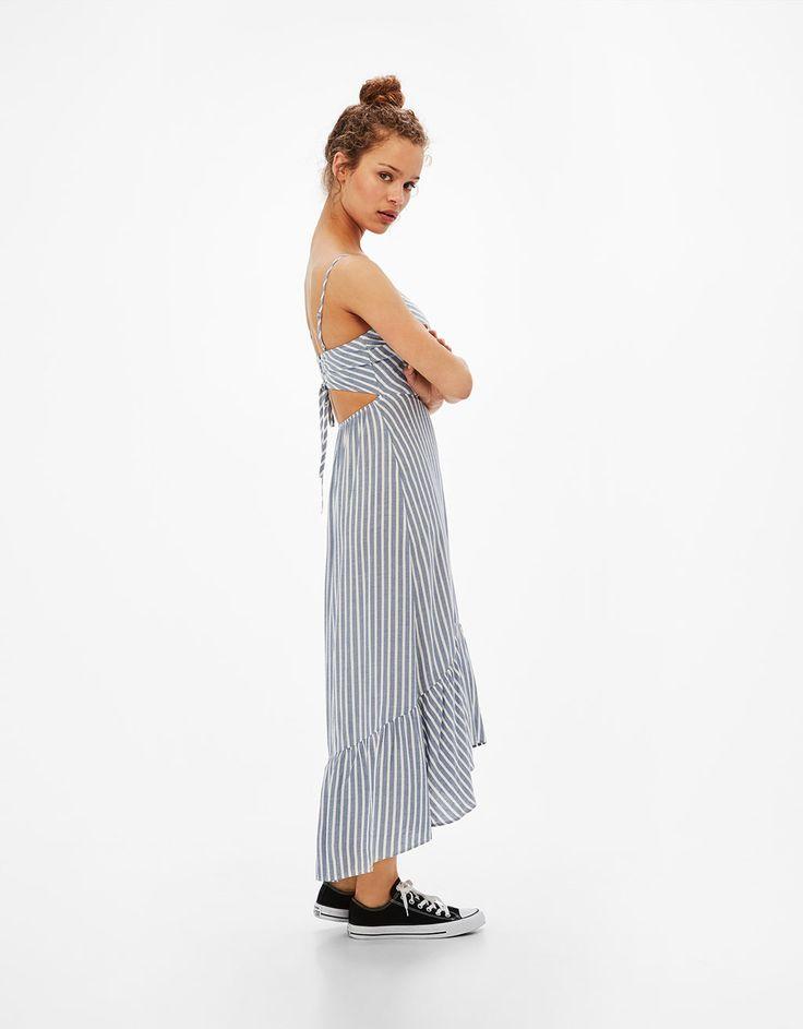 Vestido largo rayas y lazo espalda - Novedades - Bershka España