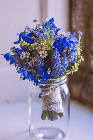 cornflower blue bridal bouquet | Donna and Macdarra's Beautiful Waterford Castle Wedding by Aspect Photography | www.onefabday.com