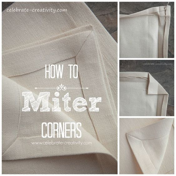 How to Miter fabric corners for napkins, aprons, tablecloths, etc. Step-by-step tutorial.
