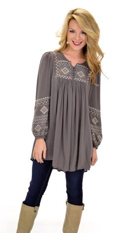 The Bishop Tunic, Olive :: NEW ARRIVALS :: The Blue Door Boutique