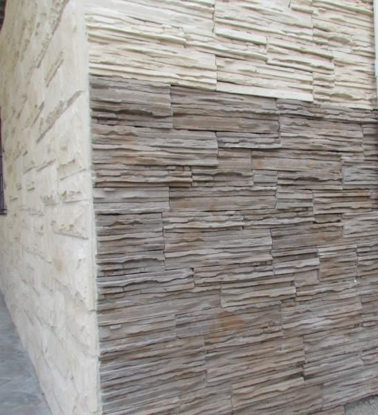 New Product! - Ledge Stone Cladding Ledge Stone Cladding - (Top half)  Beach Sandstone - (Bottom half) Namib