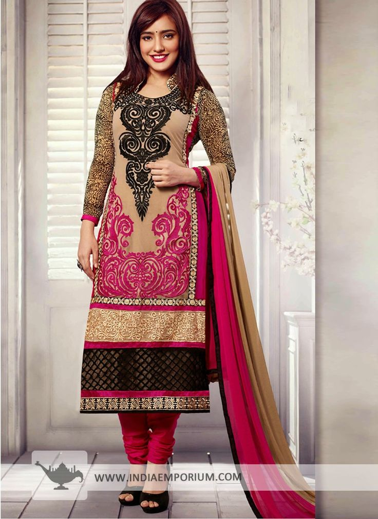 Pink & Beige Georgette Embroidered Churidar #Suit  #Bollywood  #BollywoodFashion