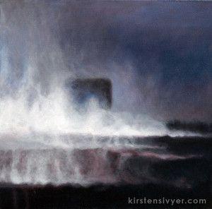 Kirsten Sivyer fine art. oil painting.  Landscape, smoke, fire, Western Australia. kirstensivyer.com - Kirsten Sivyer Fine Art Studio