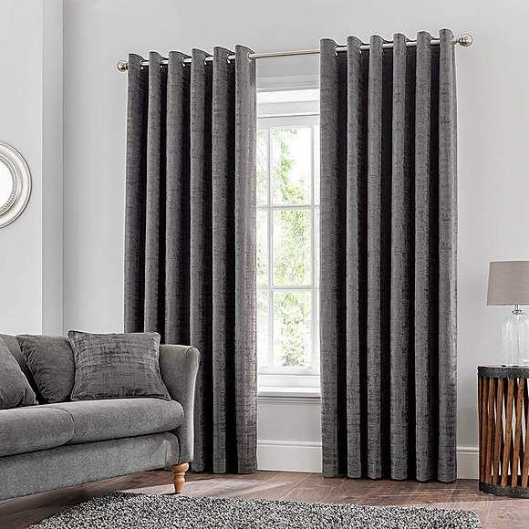 Ruben Grey Velour Eyelet Curtains Grey Eyelet Curtains Curtains Thermal Curtains
