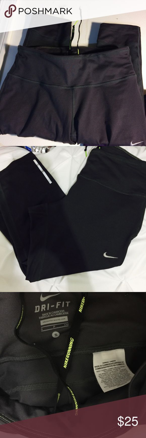 Nike running tights Nike cropped leggings, lightly worn. Has reflective details and mesh on the back of the knees for ventilation. Nike Pants