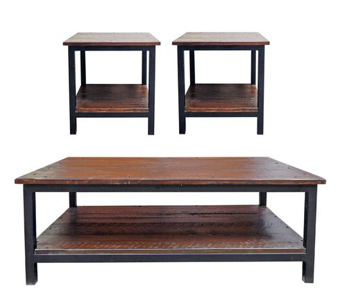3 PC Rustic Rough Cut Medium Wax & Iron Coffee Table & End Table Set
