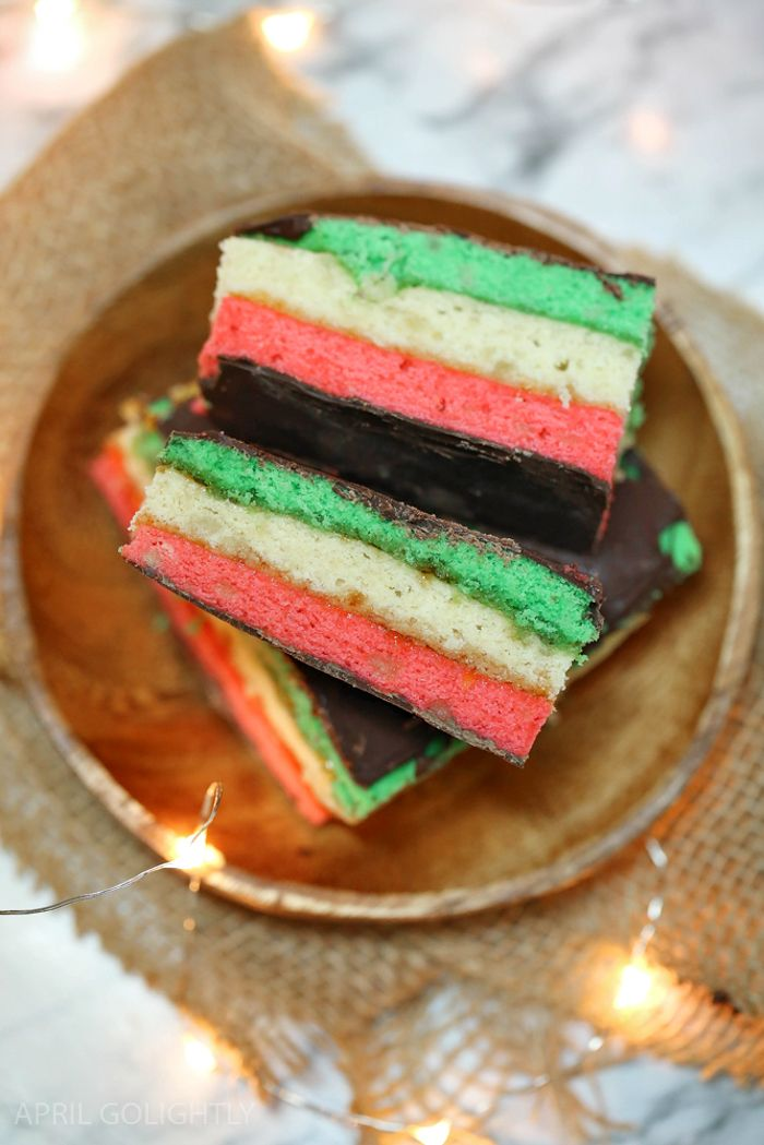 Italian Rainbow Cookie recipe with some Italian history of the cookies and their New York and family connection to April Golightly