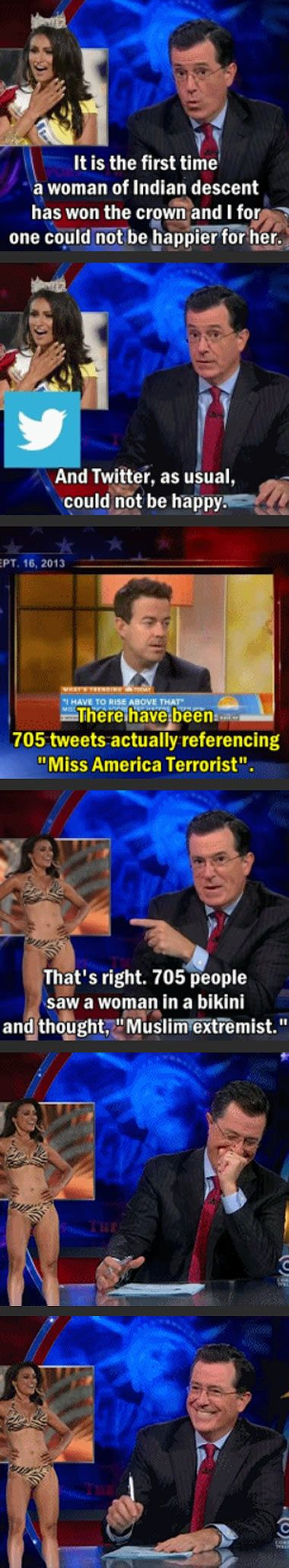 Colbert's take on those displeased with Miss America