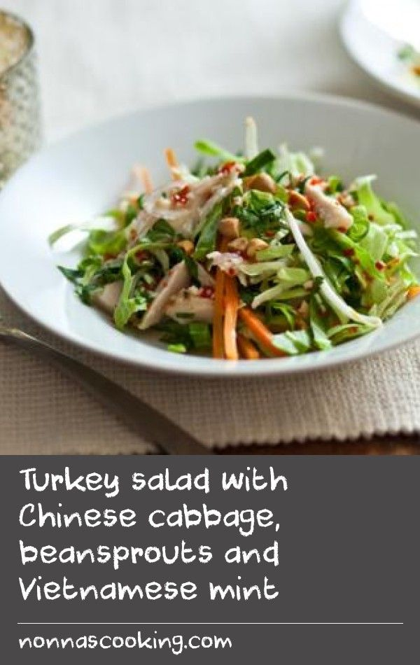 Turkey salad with Chinese cabbage, beansprouts and Vietnamese mint |      This is an easy way to use up leftover Christmas turkey, plus it makes a delicious light meal to help make up for the excesses of Christmas.