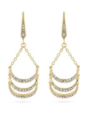 Laundry By Shelli Segal Women Gold-Tone Pave Ladder Drop Earrings - Gold - One Size