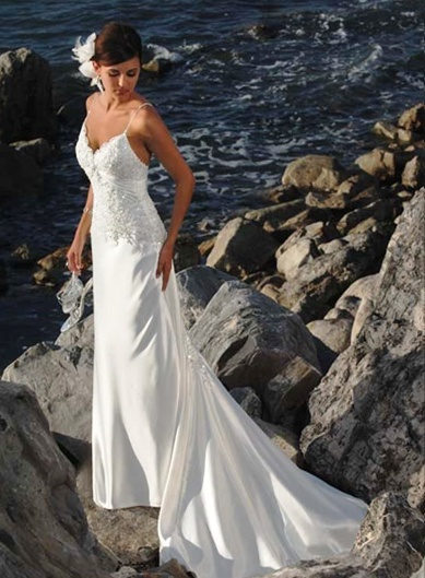 beach wedding dress, Sheath/Column Spaghetti Straps SleevelessDestinations Wedding Dresses, Dresses Wedding, Wedding Dressses, Beachwedding, Beach Weddings, Chapel Training, Spaghetti Straps, Satin Wedding Dresses, Beach Wedding Dresses