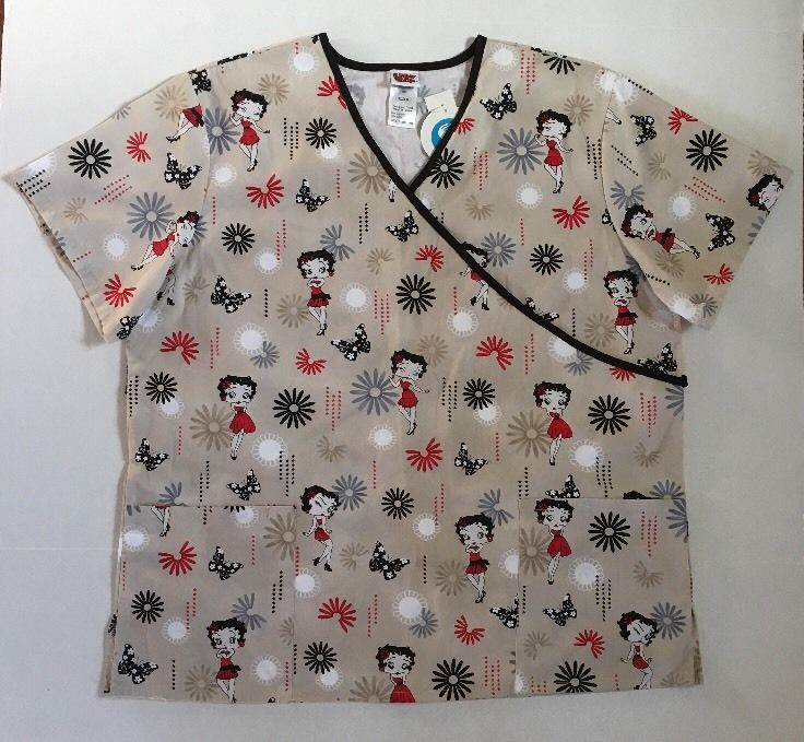 Betty Boop Top Scrub Khaki, 65% Polyester/35% Cotton, Size: X-Large (3A) #BettyBoop