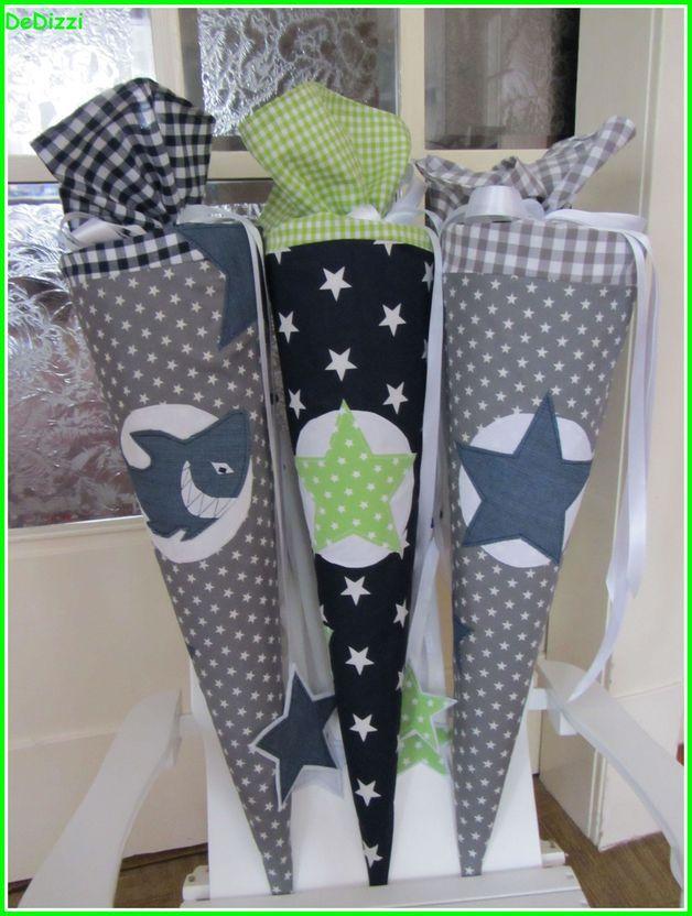 Schultüten - Schultüte ★ aus Stoff ★ grau weiß mit blauem Stern - ein Designerstück von DeDizzi bei DaWanda