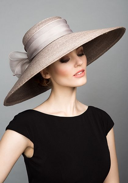 Grey Italian braided straw hat with silk organza bow