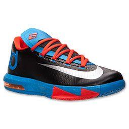 Men's Nike KD VI Basketball Shoes | FinishLine.com | Black/Metallic Silver/