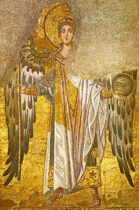Basilica di Santa Sofia, Istanbul. Arcangelo Gabriele. Mosaico, la fine del IX secolo. Rinascenza macedone.