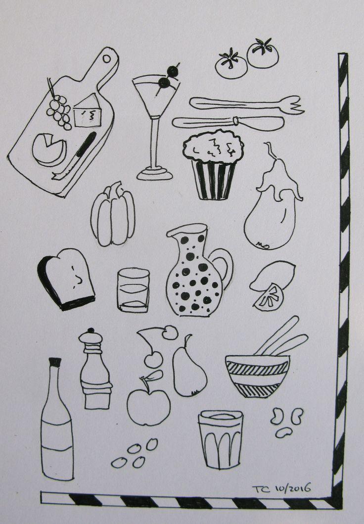 Food illustratie zwart wit gemaakt door Tonny Cooyman