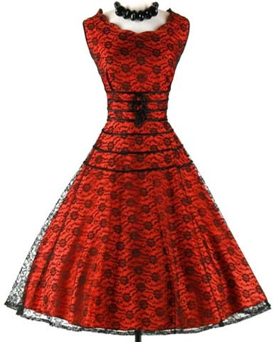 1950s Red Black Lace Cocktail Party Dress
