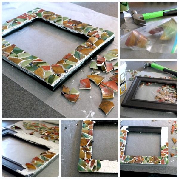DIY Mosaic Picture Frame | Now you know what to make from your favorite broken dishes or items. See full tutorial on TodaysCreativeLife.com