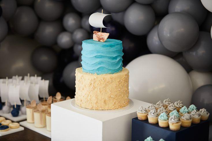 LETTUCE & CO - STYLE. EAT. PLAY - row, row, row, your boat...  nautical themed 1st birthday. wave styled mini cupcakes & custom designed nautical themed cake.