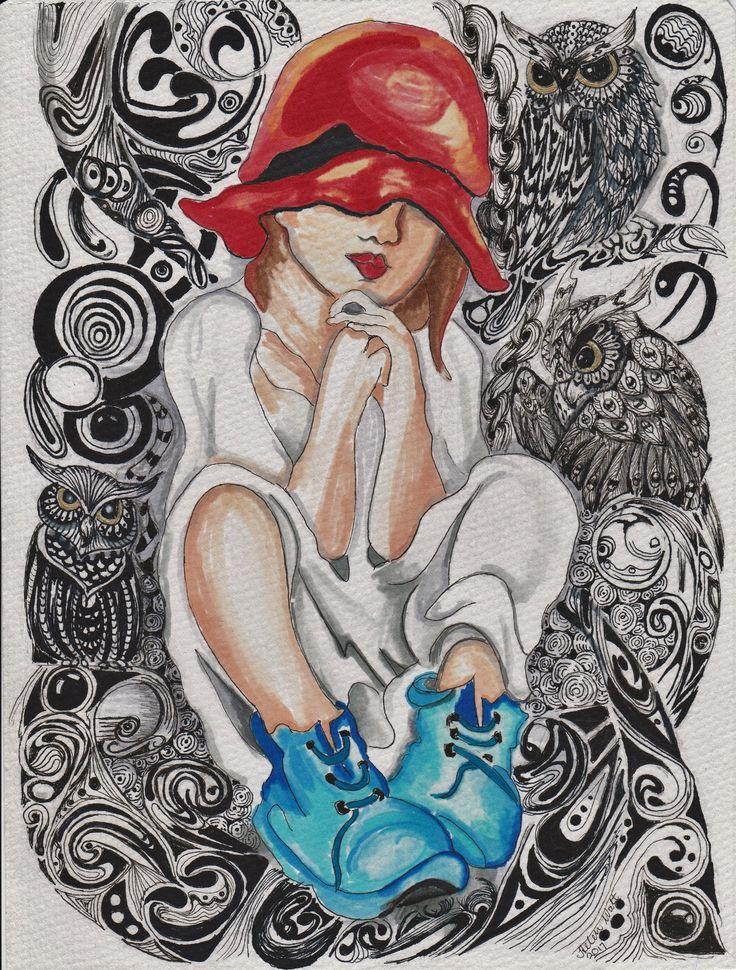 Zentangle - Owl girl.....swooshes, swirls, flourishes and zentangle .