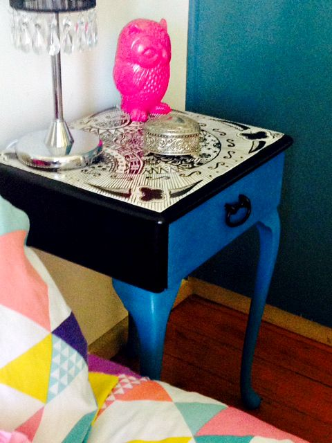 Functional Furniture-Art:  I love old vintage furniture and love painting it bright modern funky colours. This is my latest painted furniture design.  I found this bedside table thrown out for hard rubbish collection. Couldn't resist! At the time I was inspired by Zentangle doodling, so I created a design on the top, then painted the drawer and legs in Porters Chalk Paint. Check out my Facebook Page Bronnie Brasch Designs for more news about my latest projects.