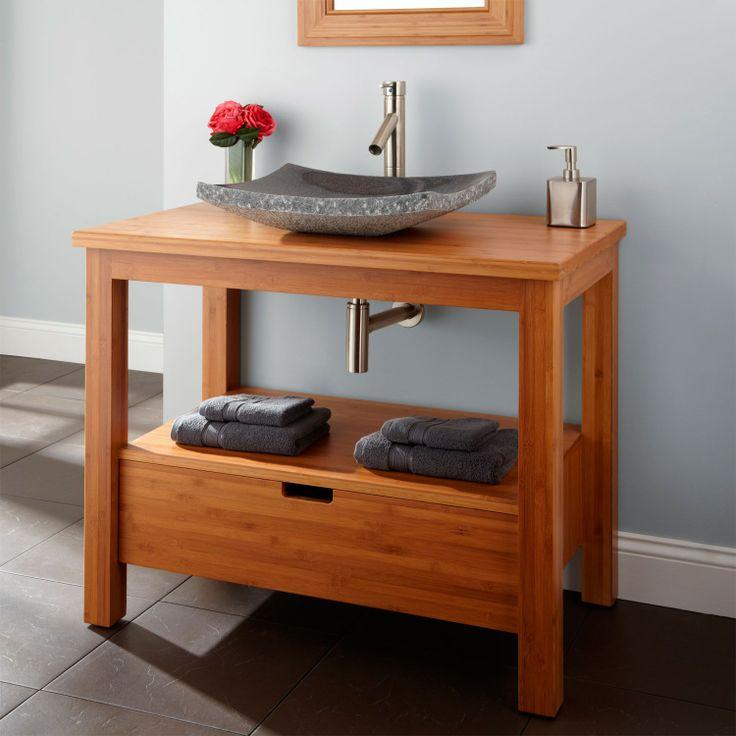 20 best contemporary bathroom vanities images on pinterest for Modern bamboo bathroom vanity