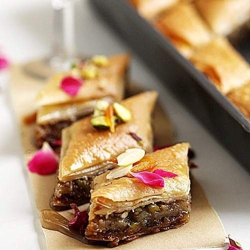 Baklava. Tastes so good that it's giving me a sugar rush.
