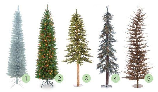 love this!  next year I'm sticking auxiliary trees EVERYWHERE!!!!!!!!  Small Space Holiday Decor: The Best Skinny Christmas Trees