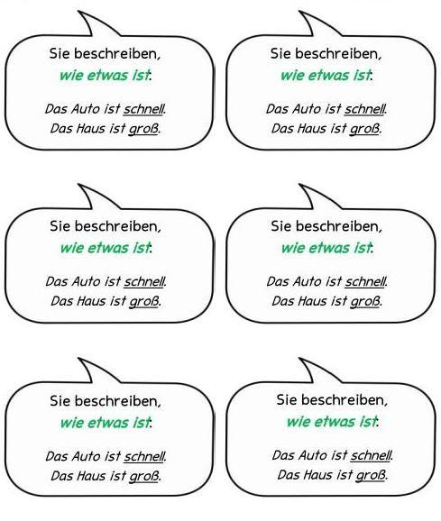 Material für die Wortartenwand und Merkzettelchen zu Adjektiven