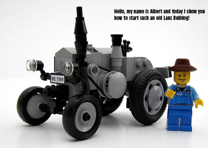 If you need help starting an antique tractor, LEGO farmer Albert has a helpful tutorial (specifically with a LEGO Lanz Bulldog tractor)