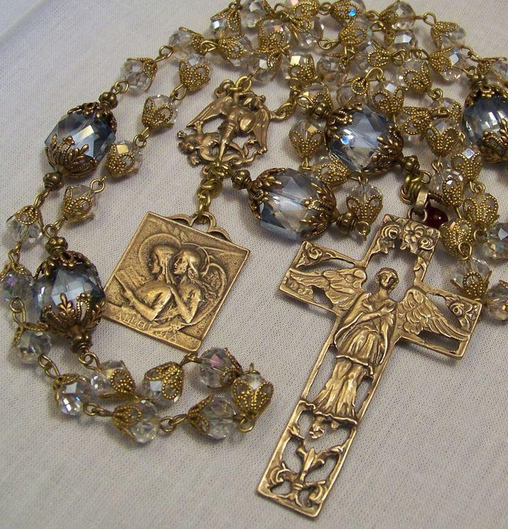 Rosary ~ Archangels  St Michael~ St Raphael ~ St Gabriel ~ Bronze ~ Handmade