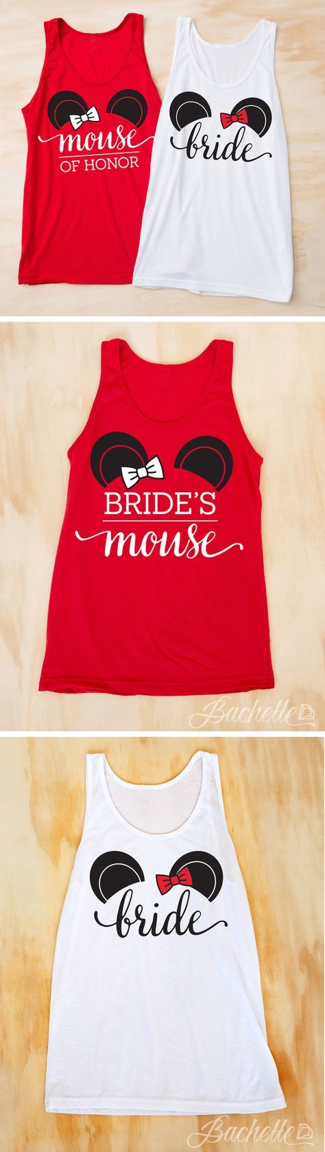 """Adorable """"Bride's Mouse"""" and """"Mouse of Honor"""" mouse ears bachelorette party shirts! SO CUTE and perfect for a bachelorette party!"""