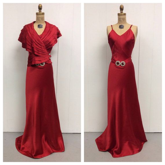 1930s Red Gown Jacket 30s Set by LostnFoundVintage on Etsy, $498.00