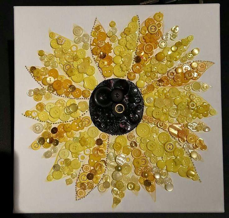 Button sunflower on canvas