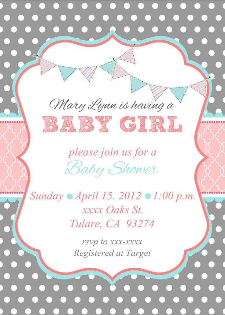 Bebé niña ducha invitación por MMcardDesigns en Etsy