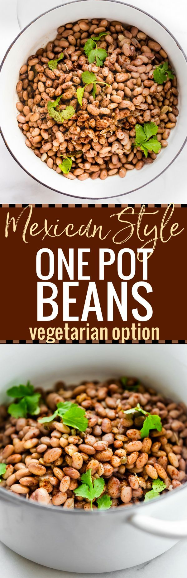 How to make Mexican Style One Pot Beans . This Mexican Pinto Beans recipe is slow cooked with Mexican spices and vegetables! Vegetarian option, healthy, and gluten free! An Easy to follow one pot recipe
