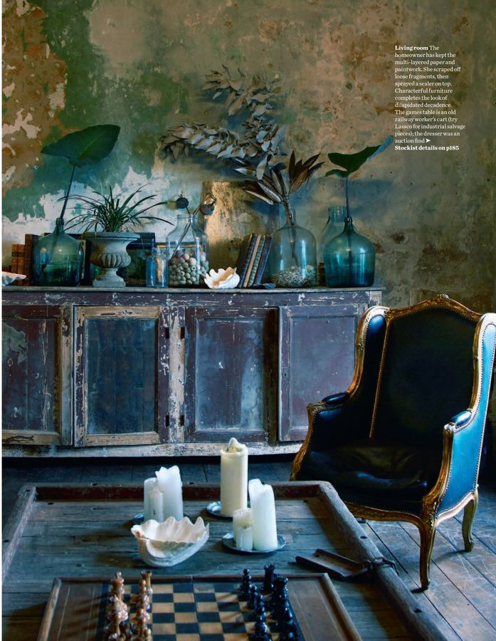 Debra Cronin and David Woolley interior, hand painted rich hues and rough textures                                                                                                                                                                                 More