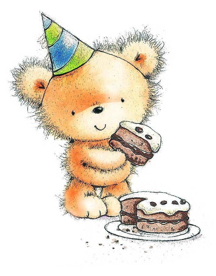 Открытки с днем рождения мишка с тортом