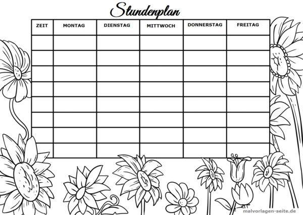 Stundenplan Vorlage Blumen Stundenplan Vorlage Stundenplan Planer