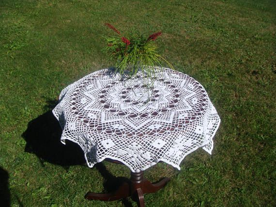 Vintage Crochet Tablecloth Lovely White Cotton Tablecloth