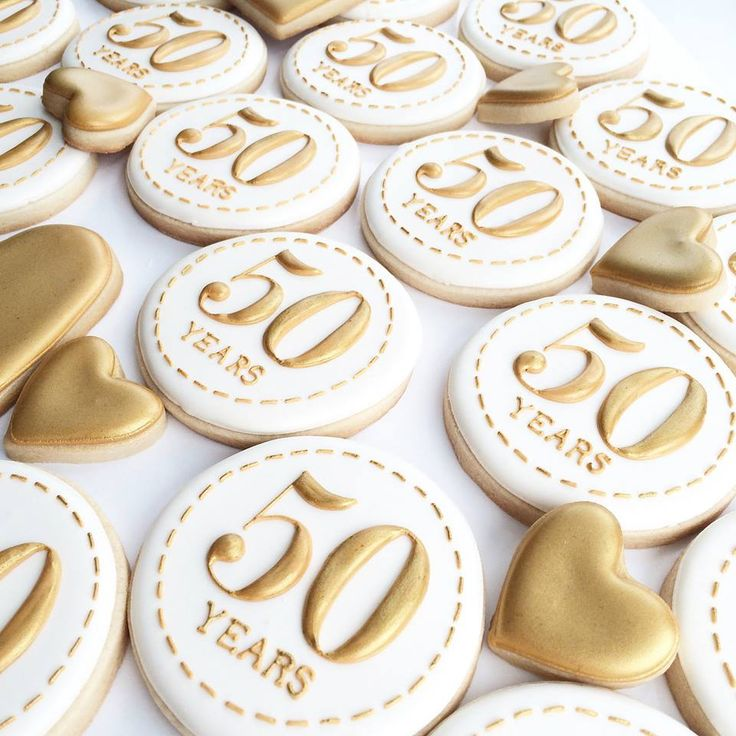 From The Painted Pastry- 50th Golden Anniversary or 50th Birthday cookies
