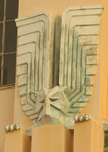 Architectural detail of Art Deco building, Durban