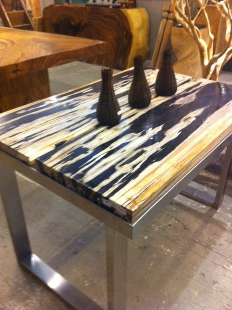 petrified wood table in Cedros David Allen Solana Beach, CA.