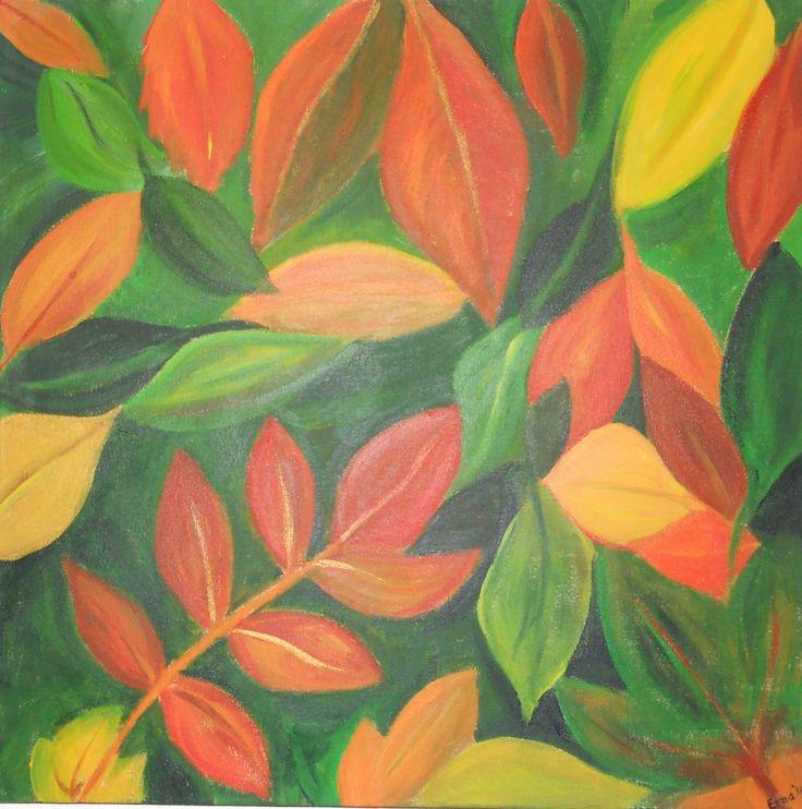 ' Herfst '-1 : acryl op canvasdoek 50x 50 cm.door Erna Feijge