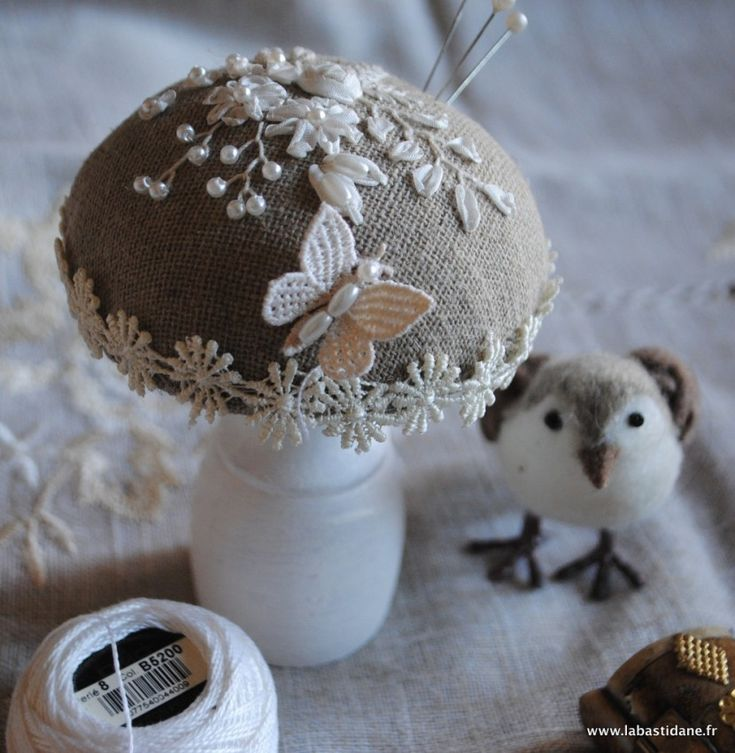 Mushroom Pincushion • with ribbon embroidery, beads and lace.